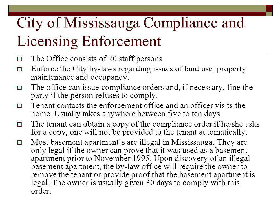 City of Mississauga Compliance and Licensing Enforcement