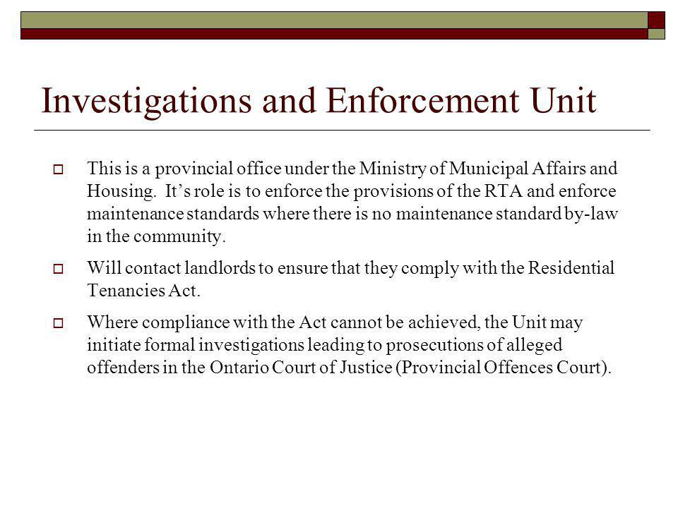 Investigations and Enforcement Unit
