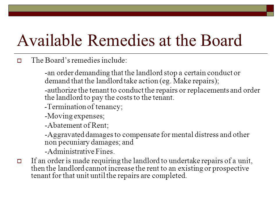 Available Remedies at the Board