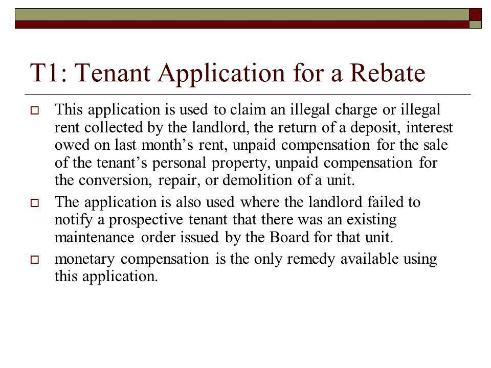 T1: Tenant Application for a Rebate