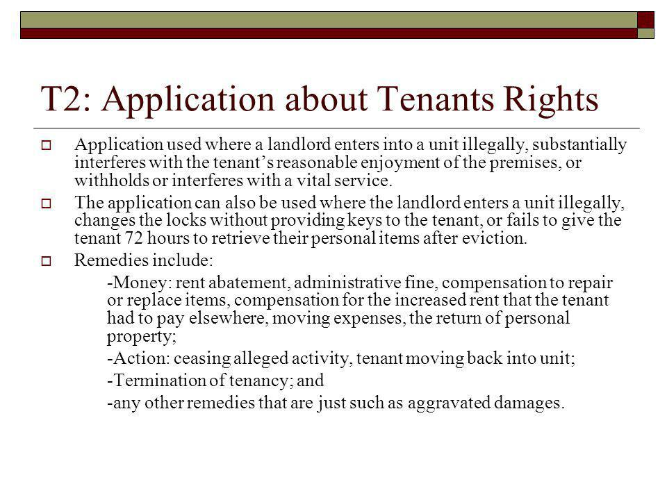 T2: Application about Tenants Rights