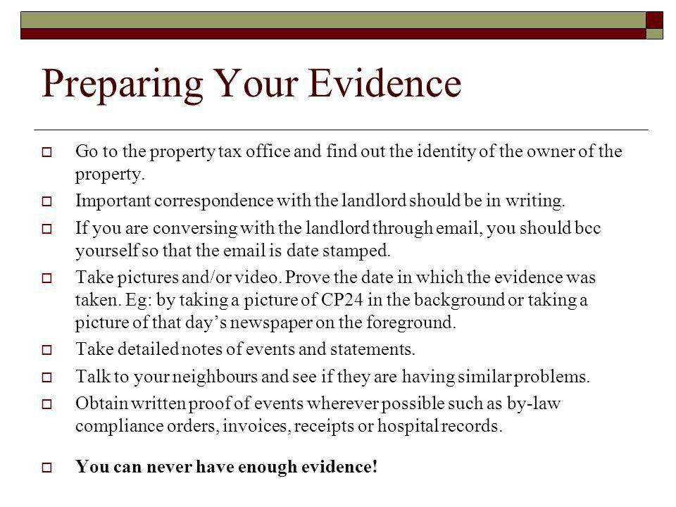 Preparing Your Evidence