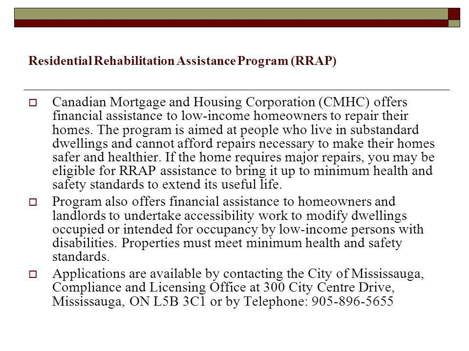 Residential Rehabilitation Assistance Program (RRAP)