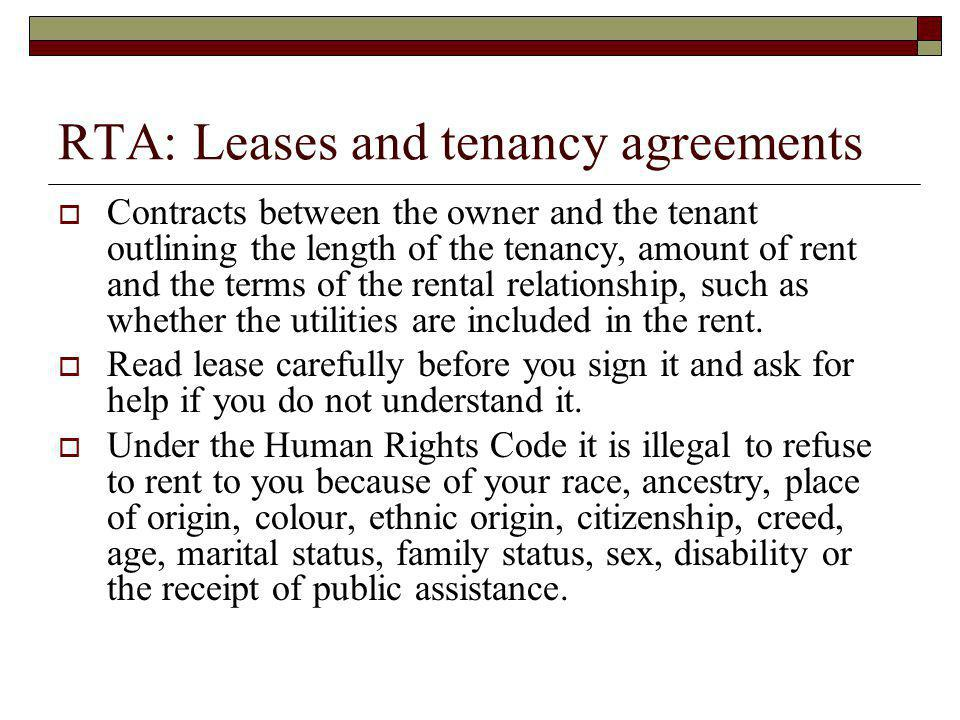RTA: Leases and tenancy agreements