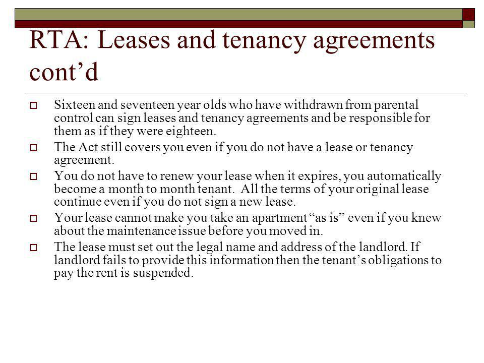 RTA: Leases and tenancy agreements cont'd