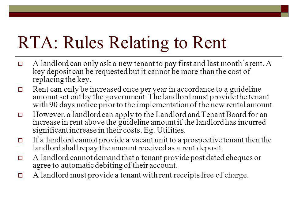 RTA: Rules Relating to Rent
