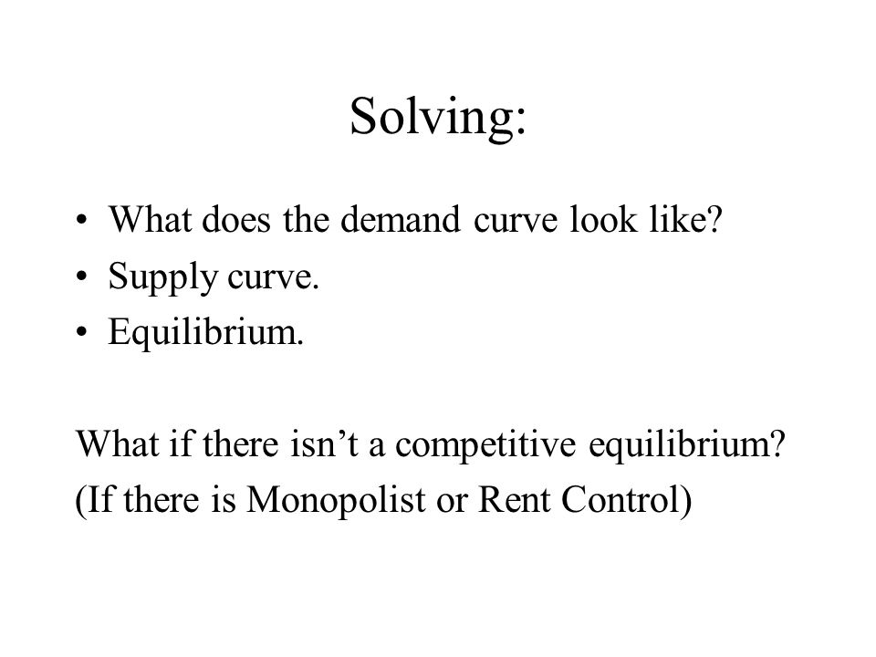 Solving: What does the demand curve look like Supply curve.