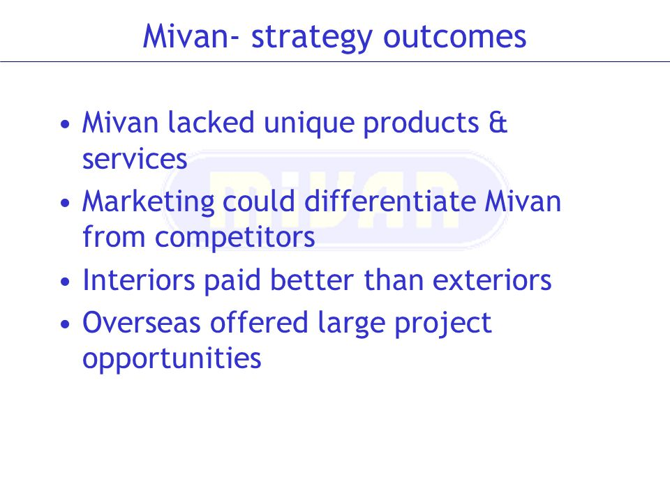 Mivan- strategy outcomes