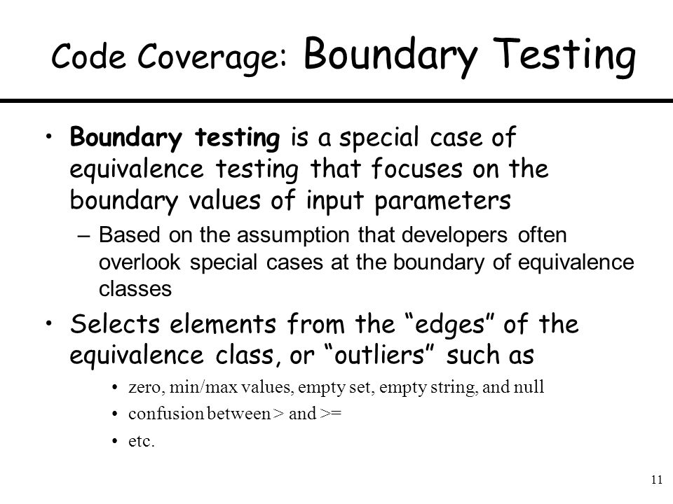 Code Coverage: Boundary Testing