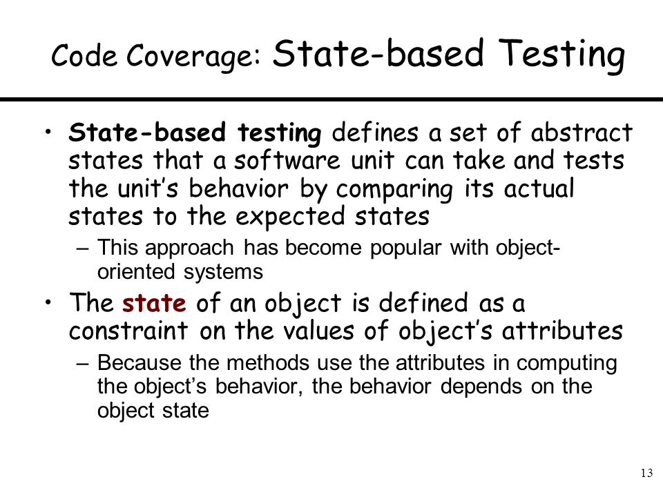 Code Coverage: State-based Testing