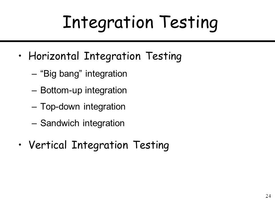 Integration Testing Horizontal Integration Testing