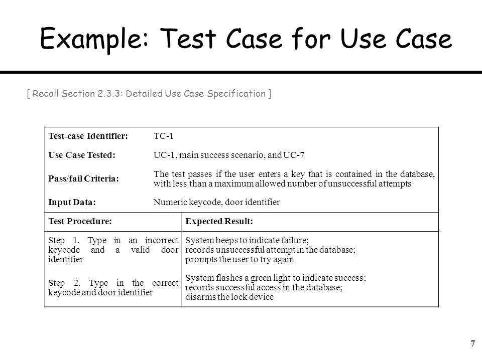 Example: Test Case for Use Case