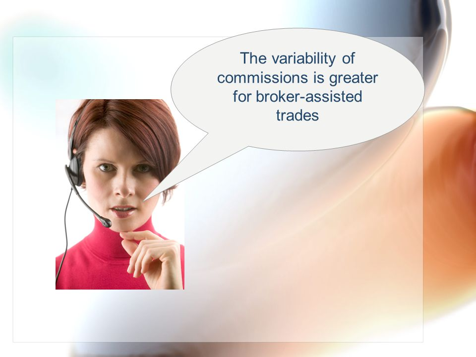 The variability of commissions is greater for broker-assisted trades