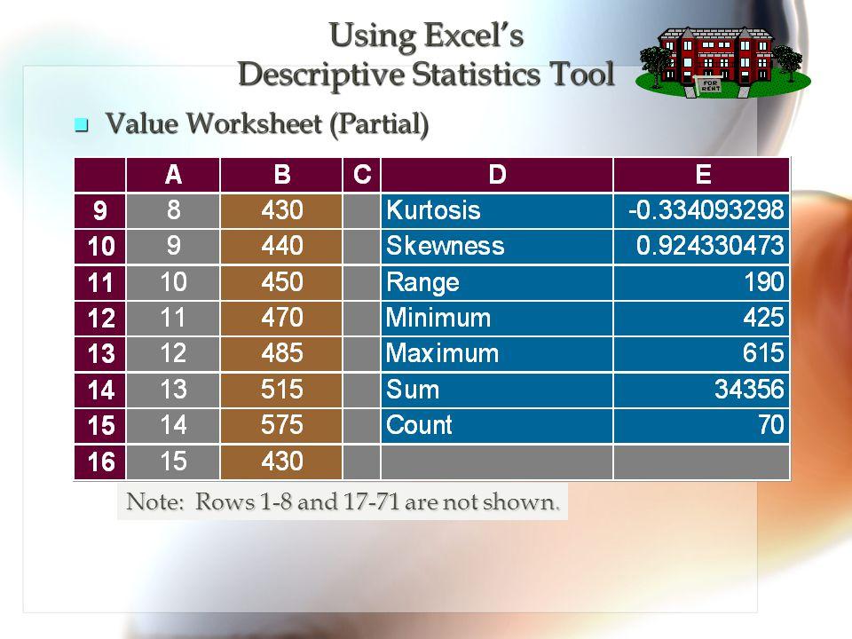 Using Excel's Descriptive Statistics Tool
