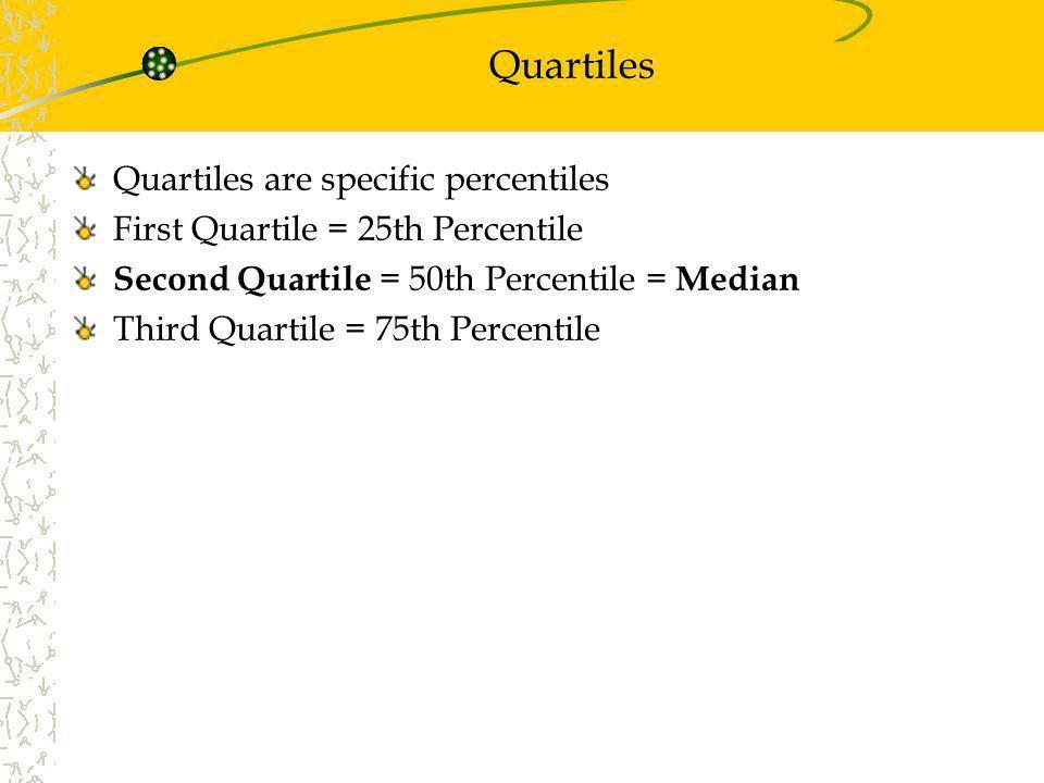 Quartiles Quartiles are specific percentiles