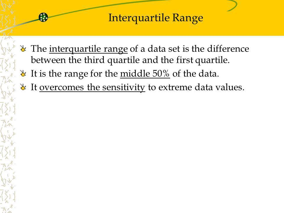 Interquartile Range The interquartile range of a data set is the difference between the third quartile and the first quartile.