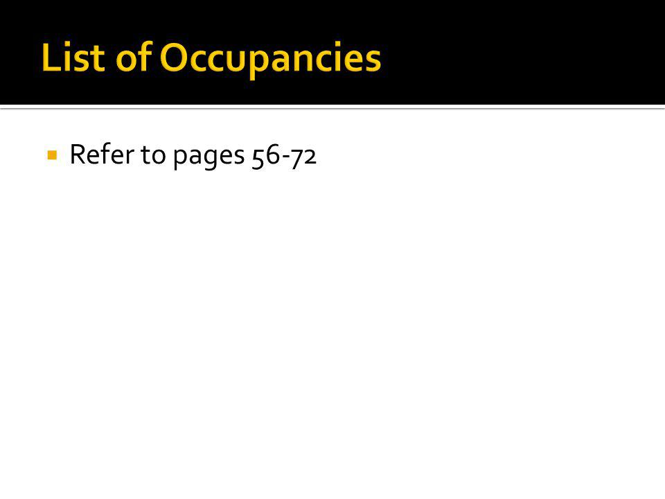List of Occupancies Refer to pages 56-72