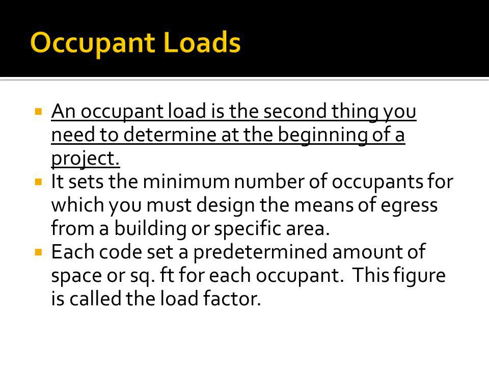 Occupant Loads An occupant load is the second thing you need to determine at the beginning of a project.