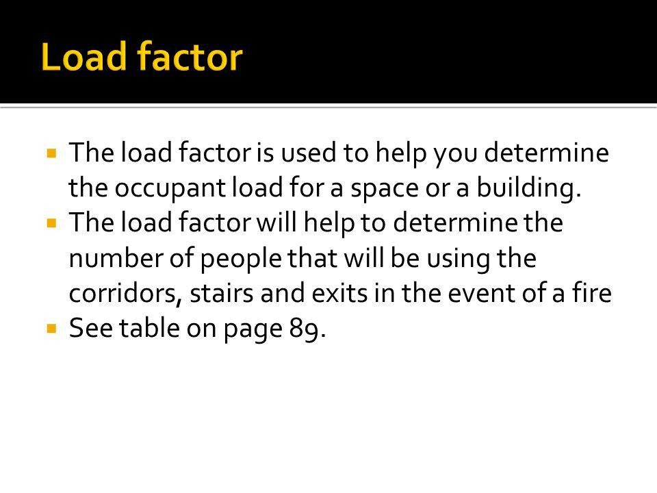 Load factor The load factor is used to help you determine the occupant load for a space or a building.