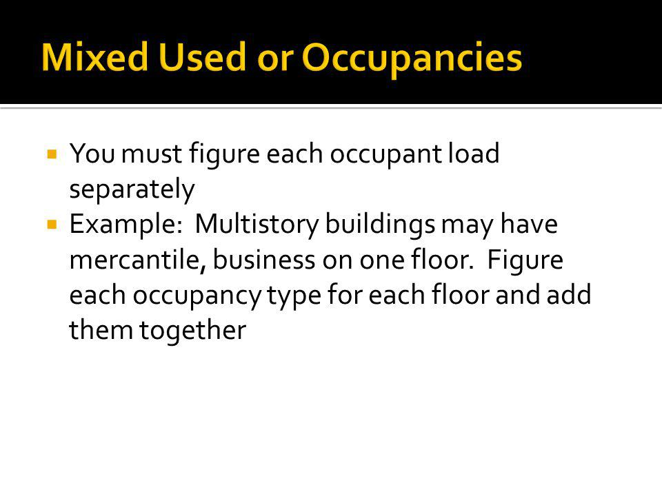 Mixed Used or Occupancies