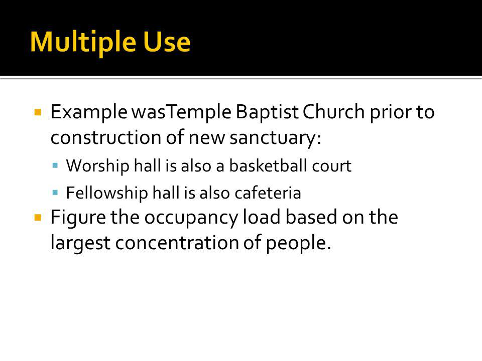 Multiple Use Example wasTemple Baptist Church prior to construction of new sanctuary: Worship hall is also a basketball court.