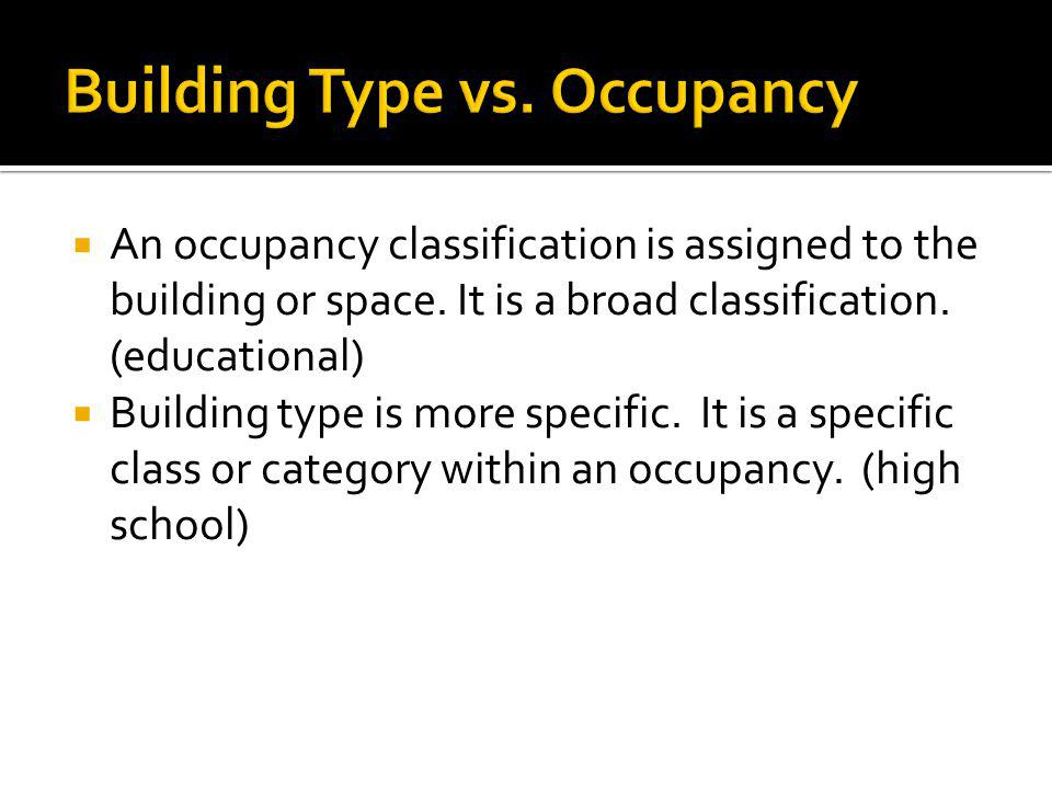 Building Type vs. Occupancy