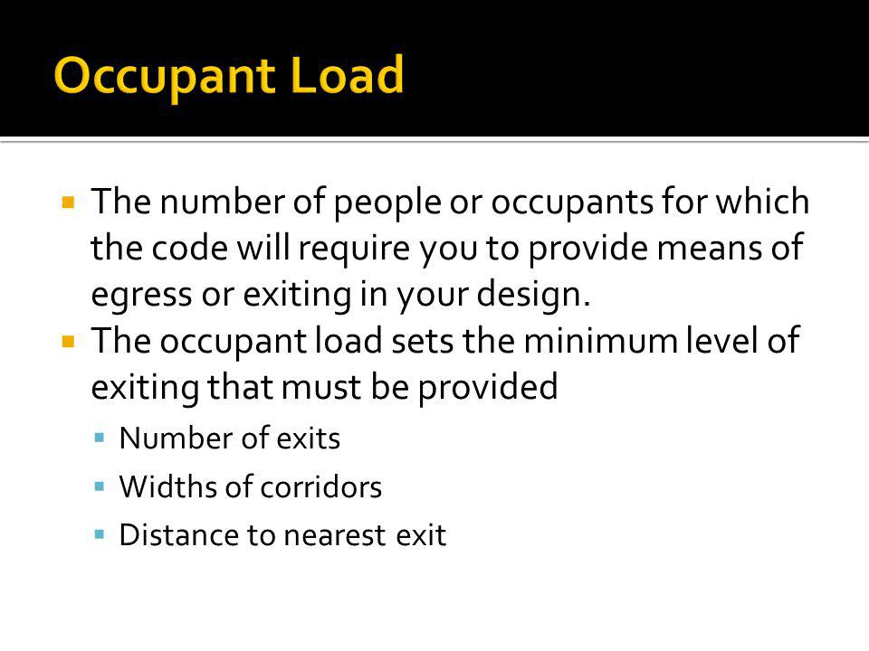 Occupant Load The number of people or occupants for which the code will require you to provide means of egress or exiting in your design.