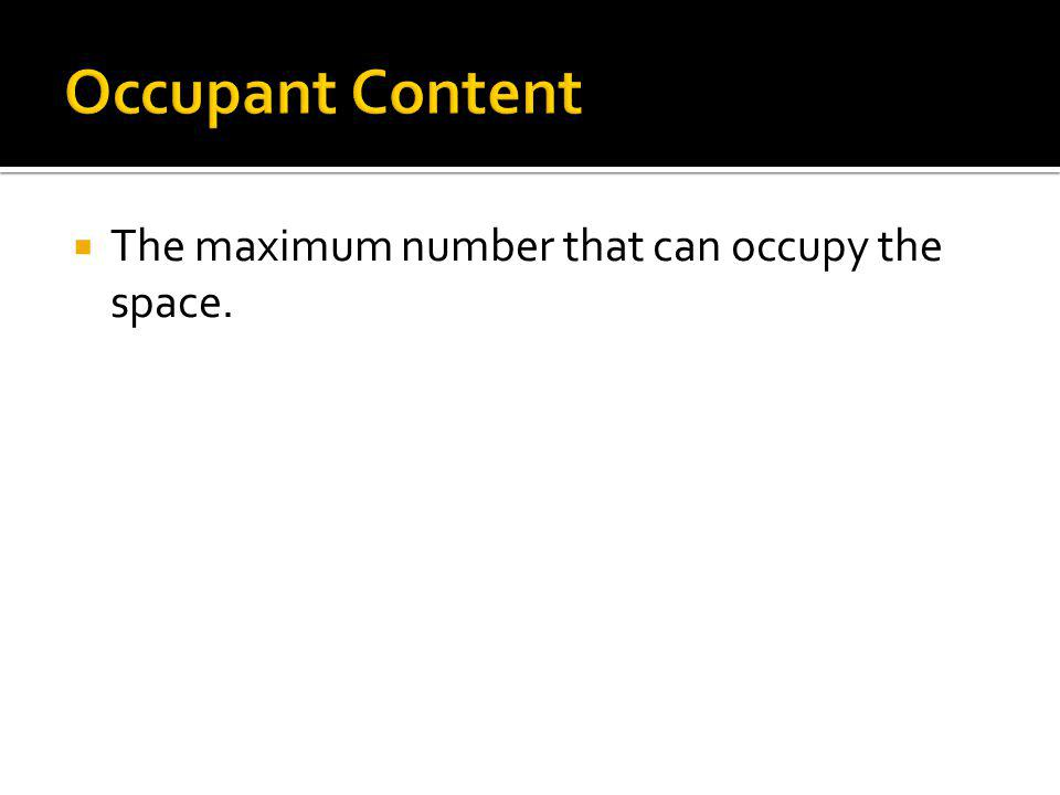 Occupant Content The maximum number that can occupy the space.