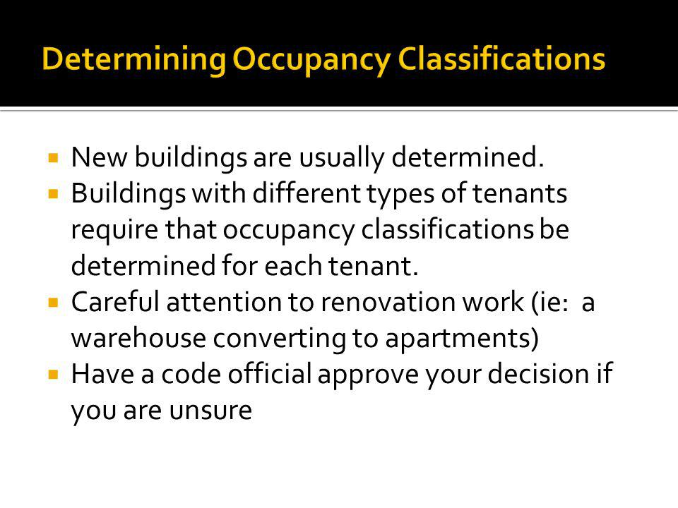 Determining Occupancy Classifications