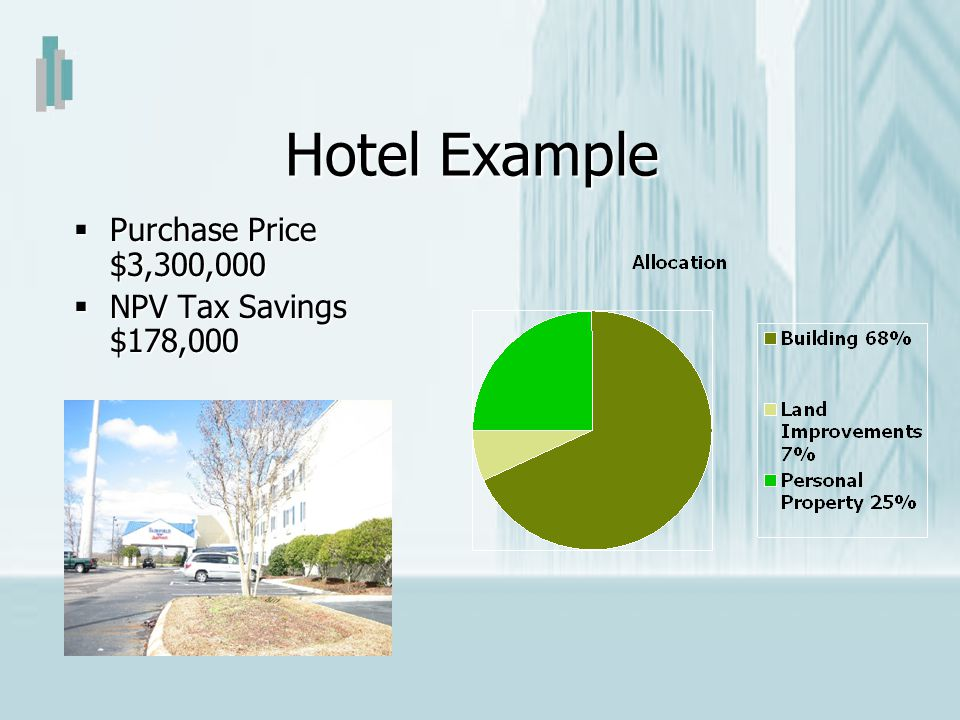 Hotel Example Purchase Price $3,300,000 NPV Tax Savings $178,000