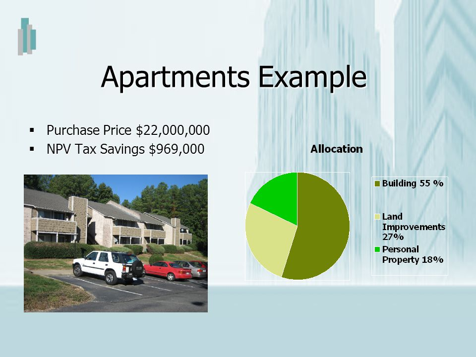 Apartments Example Purchase Price $22,000,000 NPV Tax Savings $969,000