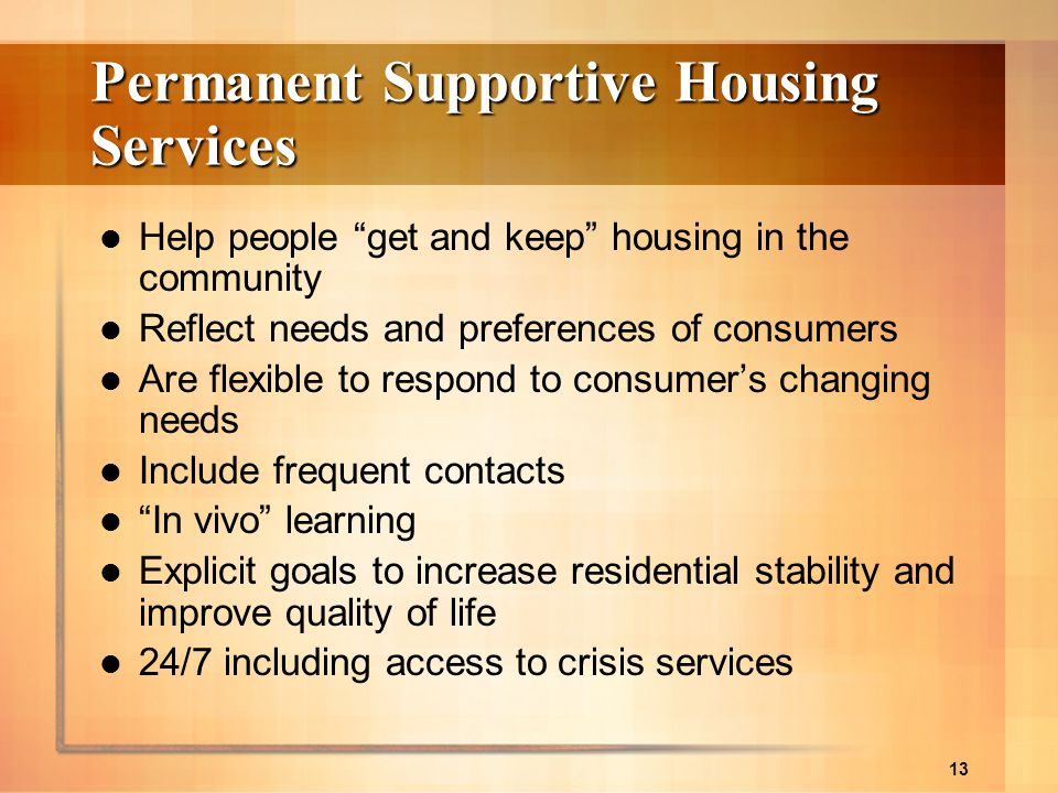 Permanent Supportive Housing Services