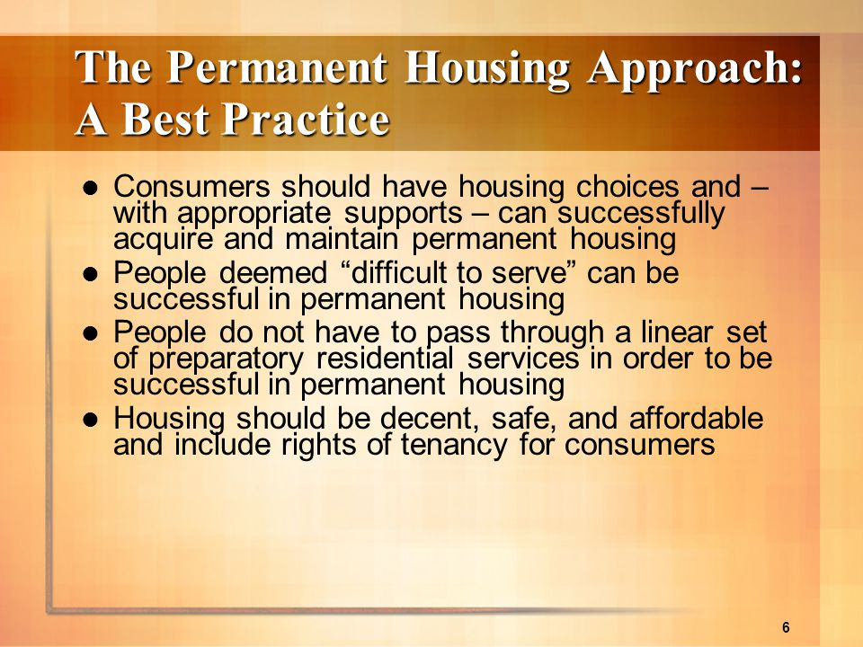 The Permanent Housing Approach: A Best Practice