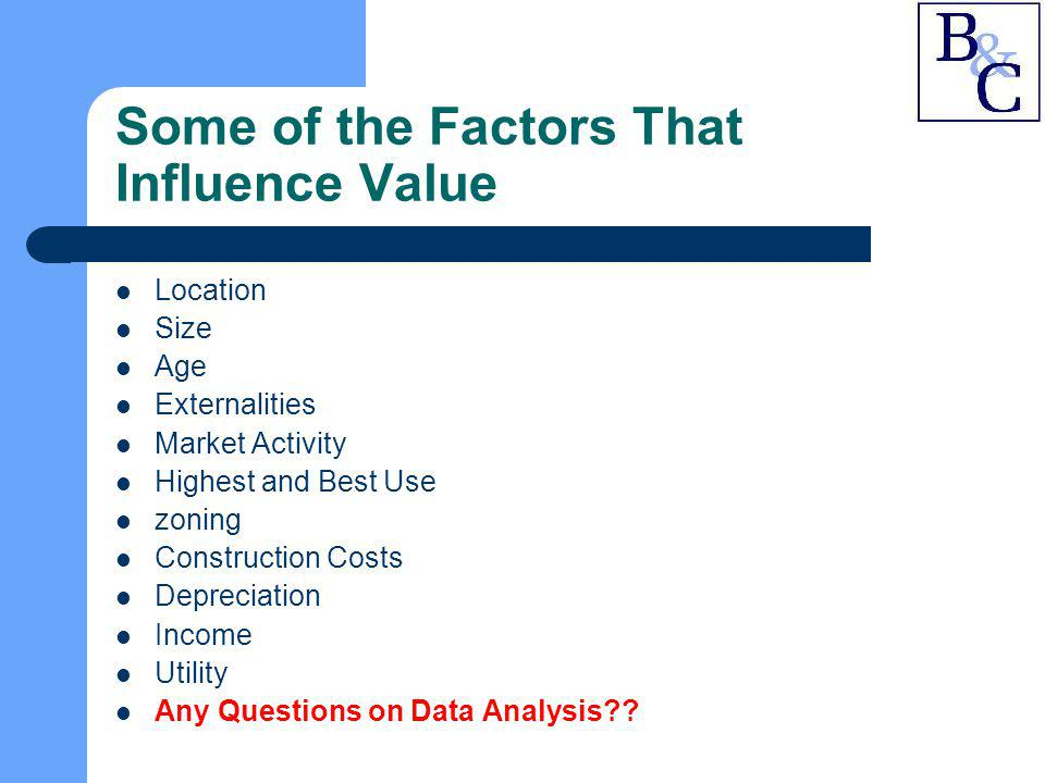 Some of the Factors That Influence Value