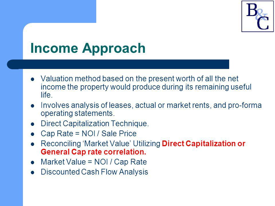 Income Approach Valuation method based on the present worth of all the net income the property would produce during its remaining useful life.