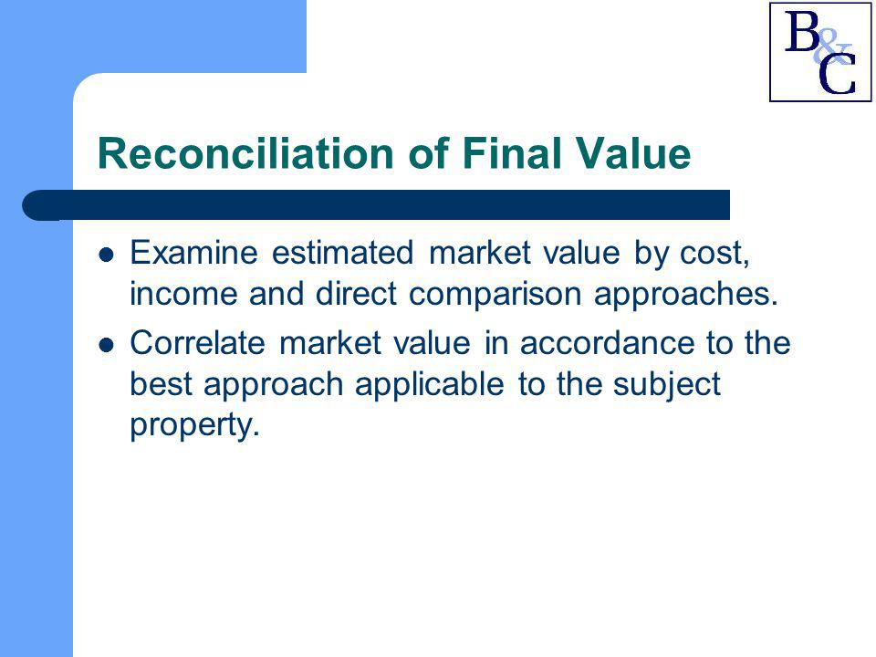 Reconciliation of Final Value