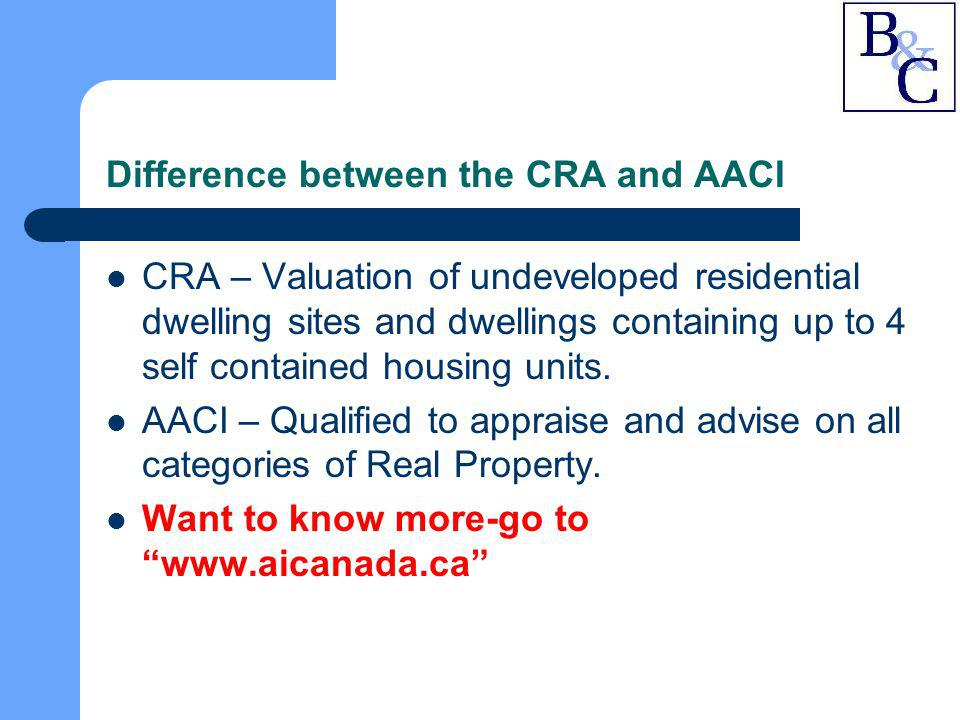 Difference between the CRA and AACI