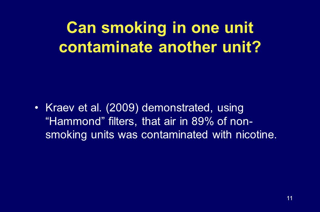 Can smoking in one unit contaminate another unit