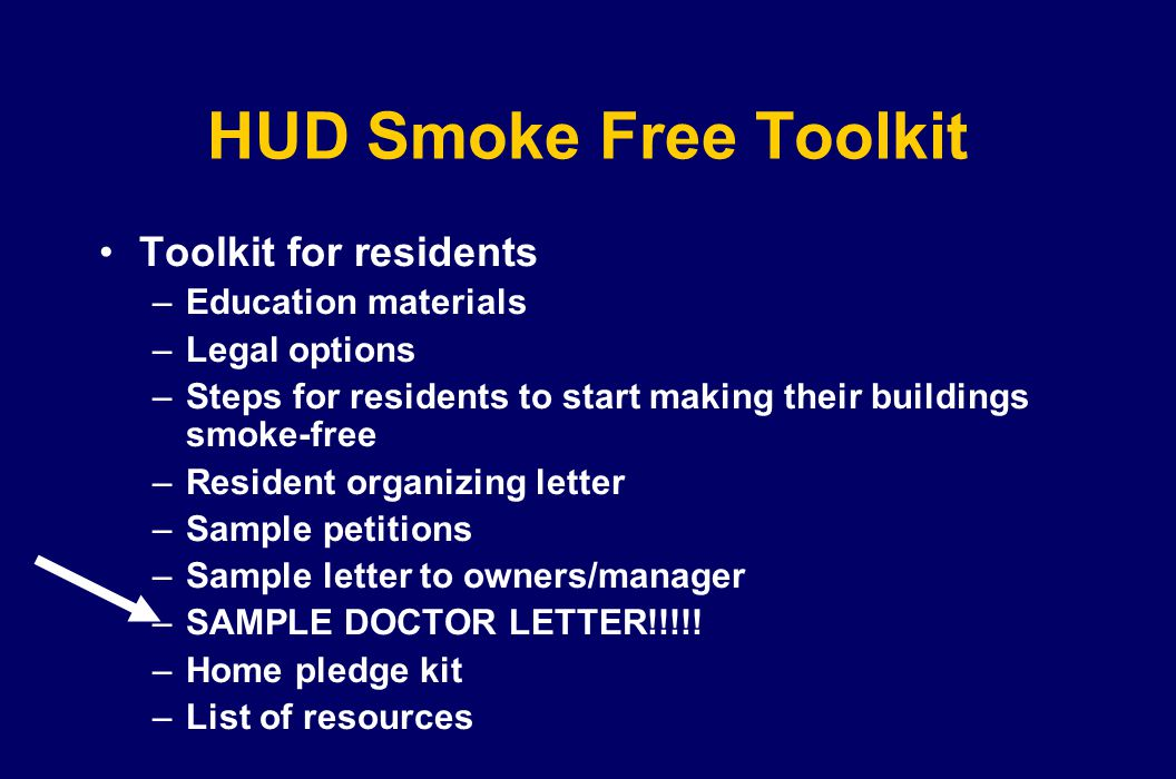 HUD Smoke Free Toolkit Toolkit for residents Education materials