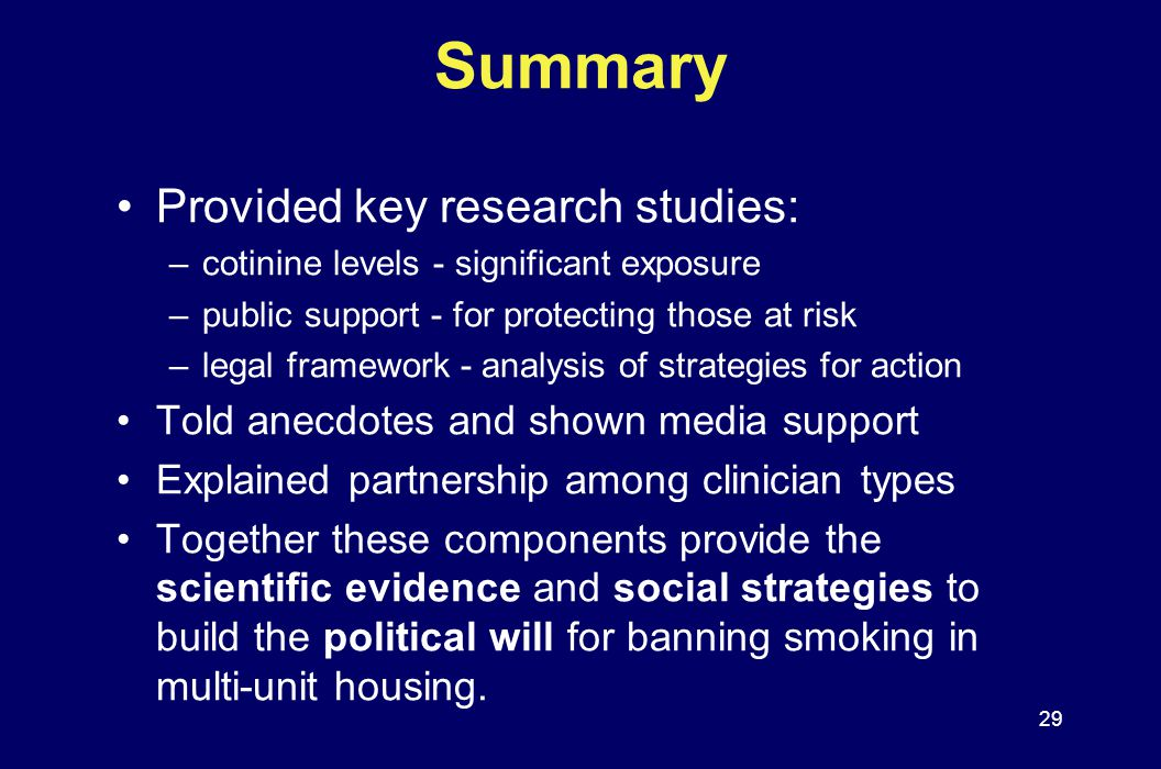 Summary Provided key research studies: