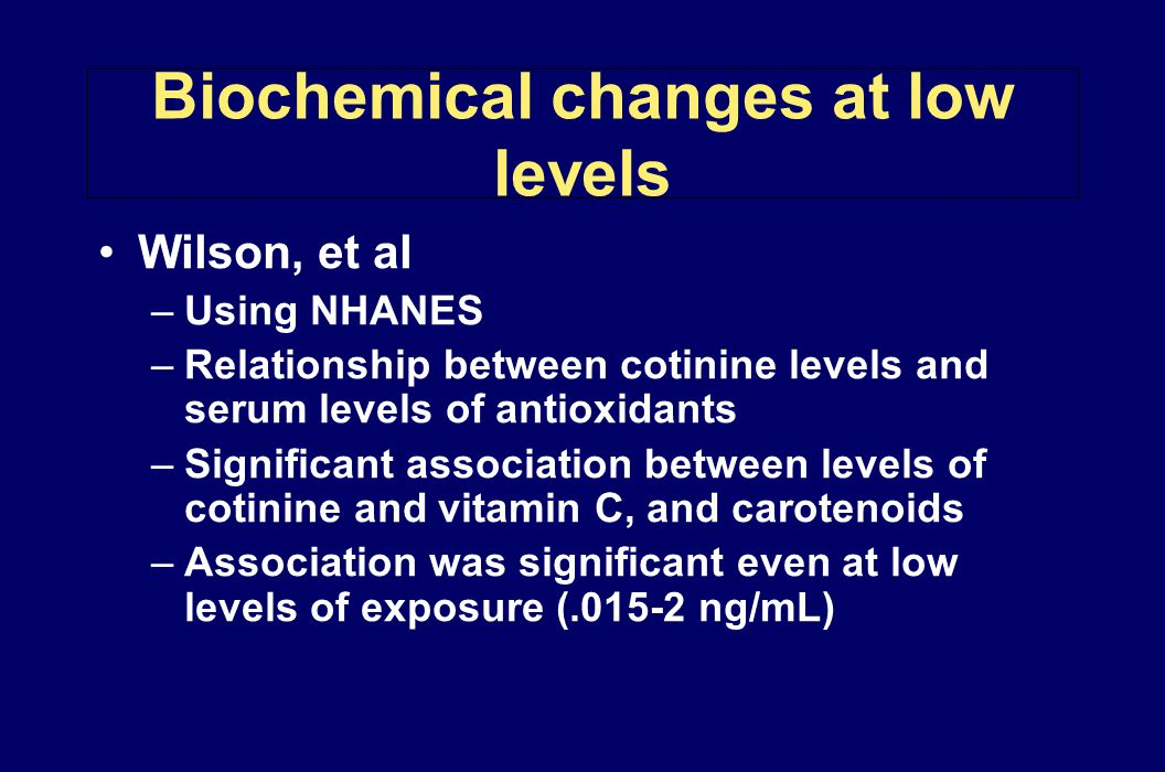 Biochemical changes at low levels