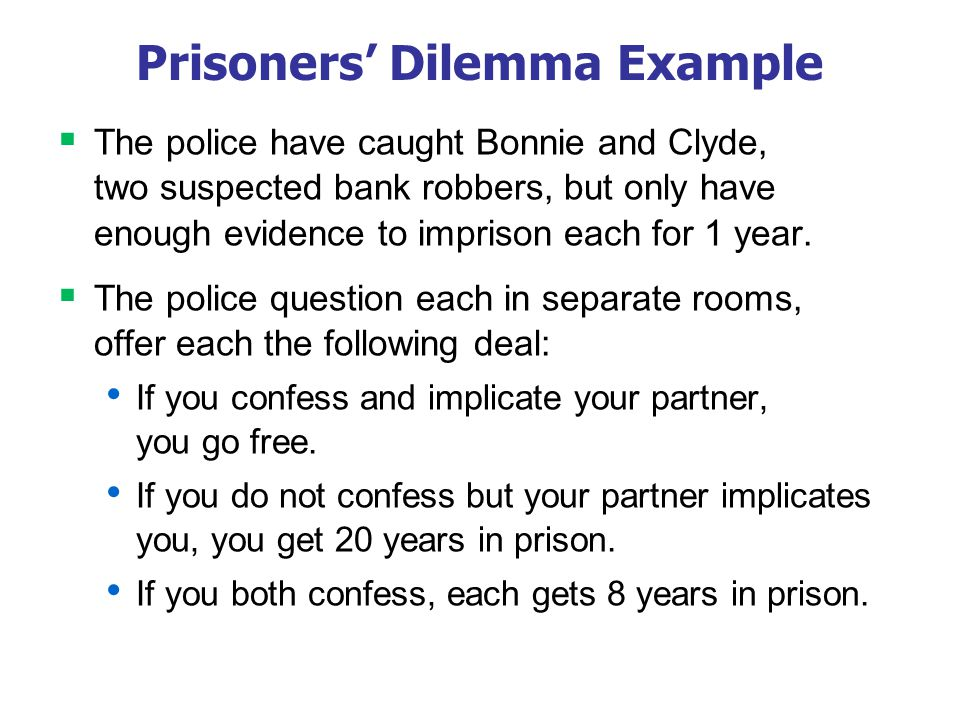 the prisoners dilemma in the airline Reading: game theory an airline's decision to raise or lower its fares—or to leave them unchanged—is a the prisoners' dilemma was played once.