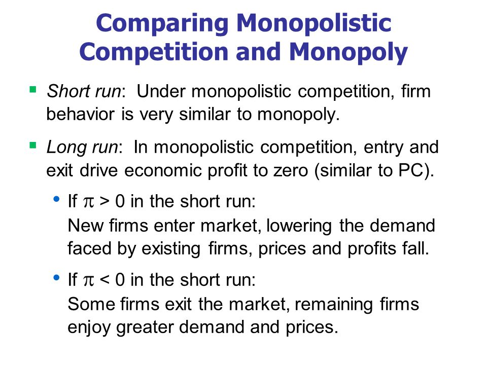 A Monopolistic Competitor in the Long Run