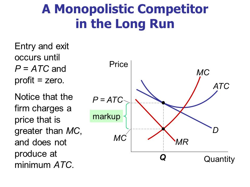 Why Monopolistic Competition Is Less Efficient than Perfect Competition 1. Excess capacity (No Productive Efficiency)