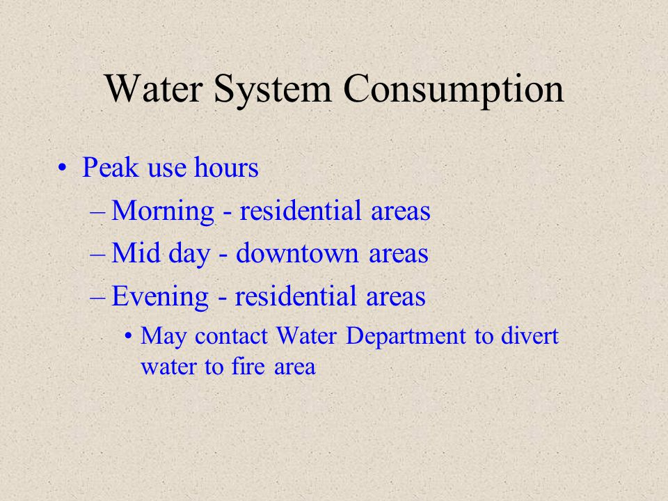 Water System Consumption
