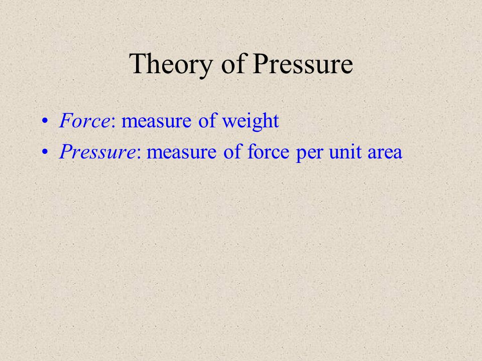 Theory of Pressure Force: measure of weight