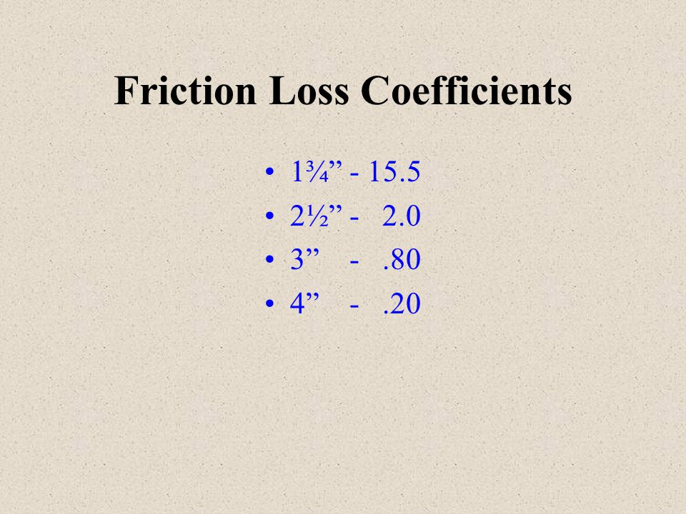 Friction Loss Coefficients