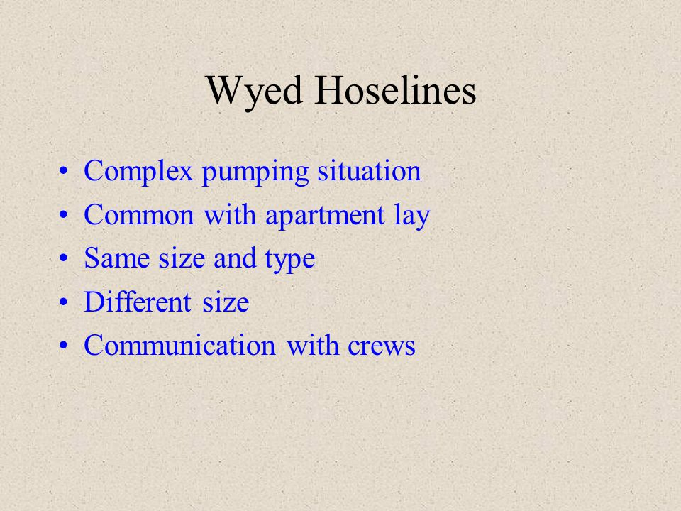 Wyed Hoselines Complex pumping situation Common with apartment lay