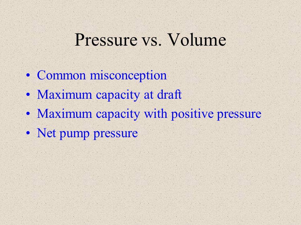 Pressure vs. Volume Common misconception Maximum capacity at draft