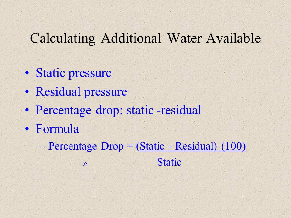Calculating Additional Water Available